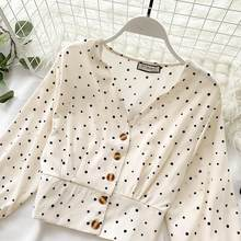Women Fashion Single-Breasted Polka Dot Elegant Blouses Boho Chic Chiffon Tops Casual Lantern Sleeve V-Neck Shirts(China)