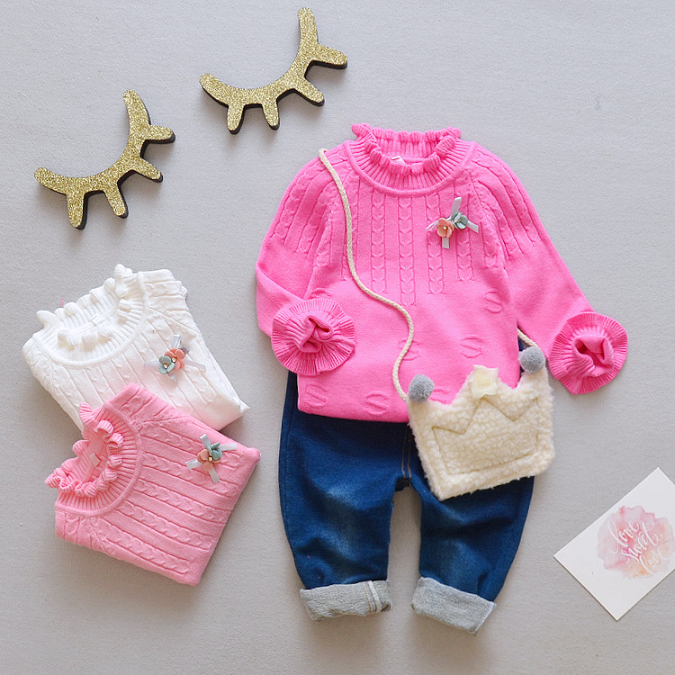 New Style Children Solid Color Sweater Autumn And Winter Korean-style Girls Knitted Pullover Small CHILDREN'S Base Shirt 1-4-Yea