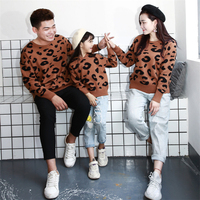 2019 Autumn Winter Family Matching Outfits Leopard pattern Pirnt Long Sleeve Knitted Sweaters 36