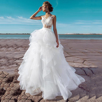 Ball Gown Wedding Dresses 2020 Sexy Tulle Sleeveless Long Bridal Dress Vestidos de Noivas Plus Size Gowns - discount item  36% OFF Wedding Dresses