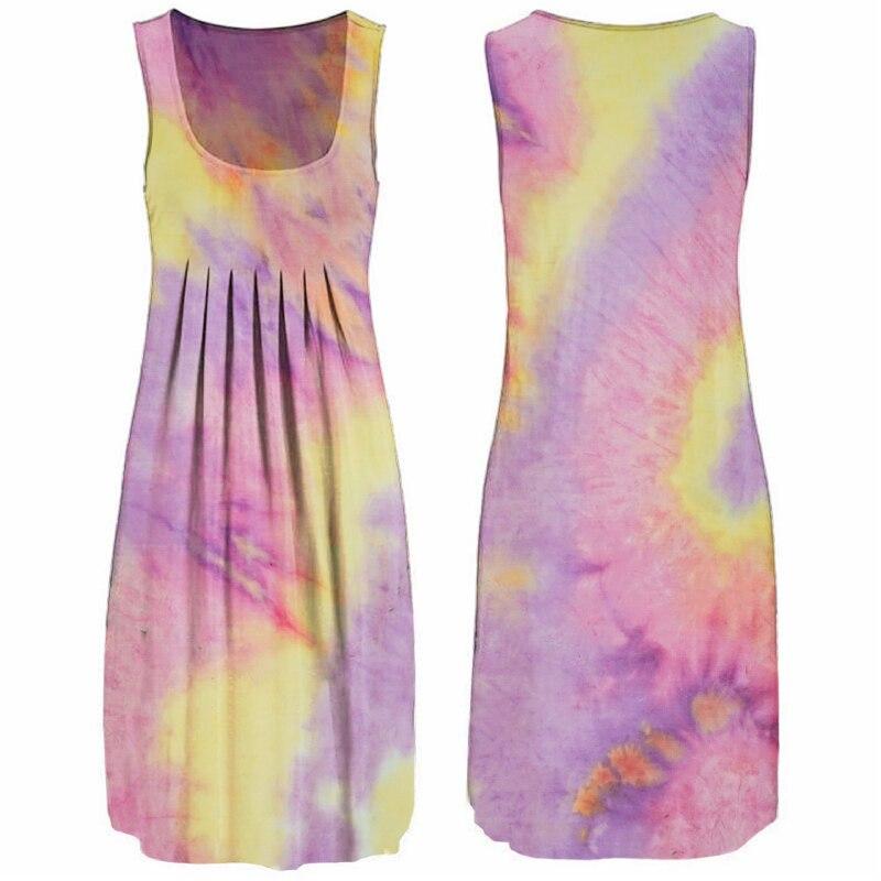 Sexy Sleeveless Woman Dress Print O-Neck Summer Dresses For Women 2020 Female Loose Casual Tie Dye Dresses Plus Size Vestidos