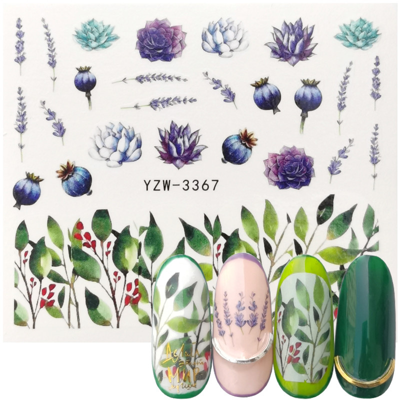 2020 Spring New Arrival Lavender Succulents Nail Art Water Transfer Sticker Decoration Slider Decal Manicure Tool