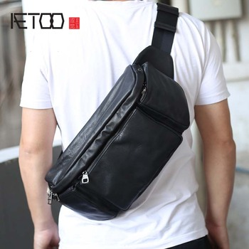 AETOO Original leather waist bag male retro crazy horse multifunctional chest sports casual mens diagon