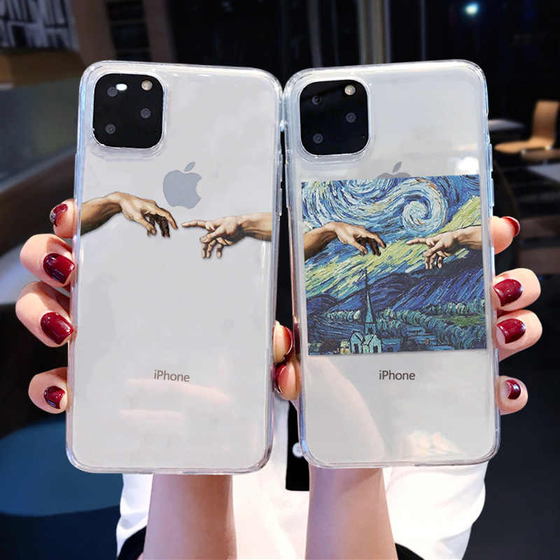Mona Lisa Art David lines Painted Pattern Case For iPhone 11Pro XS MAX XR 6 6s 7 8 Plus Fashion Transparent Soft TPU Cover Coque