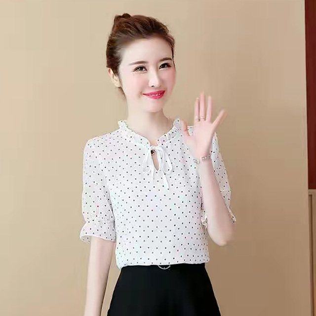 Women Spring Summer Style Chiffon Blouses Shirts Lady Casual Short Lantern Sleeve Polka Dot Printed Blusas Tops DD8822 4