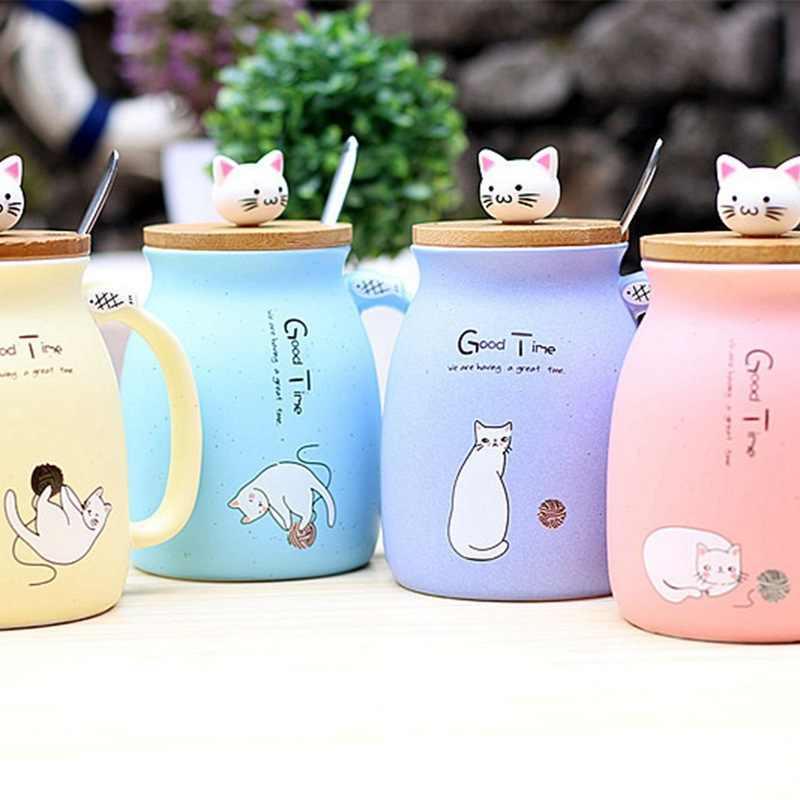 Atas! -Baru Wijen Cat Tahan Panas Cangkir Warna Kartun dengan Lid Cup Kucing Susu Cokelat Kehitaman Mug Keramik Children Cup kantor (Pin