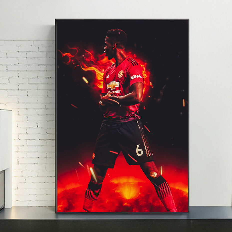 Modern Pogba Football Canvas Wall Art Paintings Decorative Football Prints Posters Prints KIds Room Home Decor