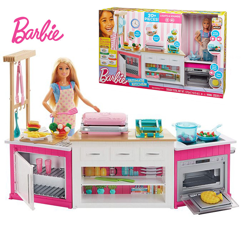 Original Brand Barbie Doll Cooking Set Ultimate Kitchen Baby Bonecas Toys For Girls Children Education Toys Birthdays Gifts Leather Bag