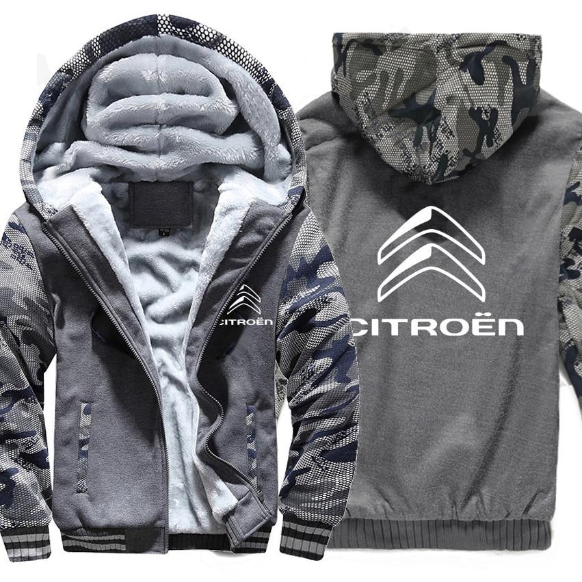 Citroen Hoodies Winter Camouflage Sleeve Jacket Men Wool Liner Fleece Citroen Men Sweatshirt