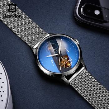 Bestdon Mechanical Watch Men Automatic Tourbillon Luxury Self Winding Moon Phase Skeleton Watches Top Brand Waterproof Clock Hot