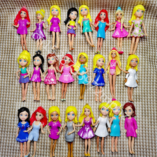 New Mixed 6pcs/12pcs/set Cute Polly Pockets Girl Doll Figures 9-12cm For Best DIY DOLL Gifts 2