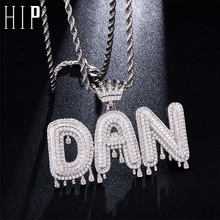 Hip Hop Custom Name Cubic Zircon Crown Drip Iced Out Bubble Letters Chain Pendants&Necklaces For Men Jewelry Cuban Tennis Chain(China)