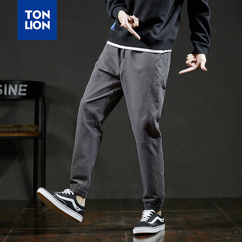 TONLION 4 Colors Men Pants Casual Cotton Elastic Waist Pants for Men Full Length Armygreen Black Pencil Pant Elastic Ankle 2020