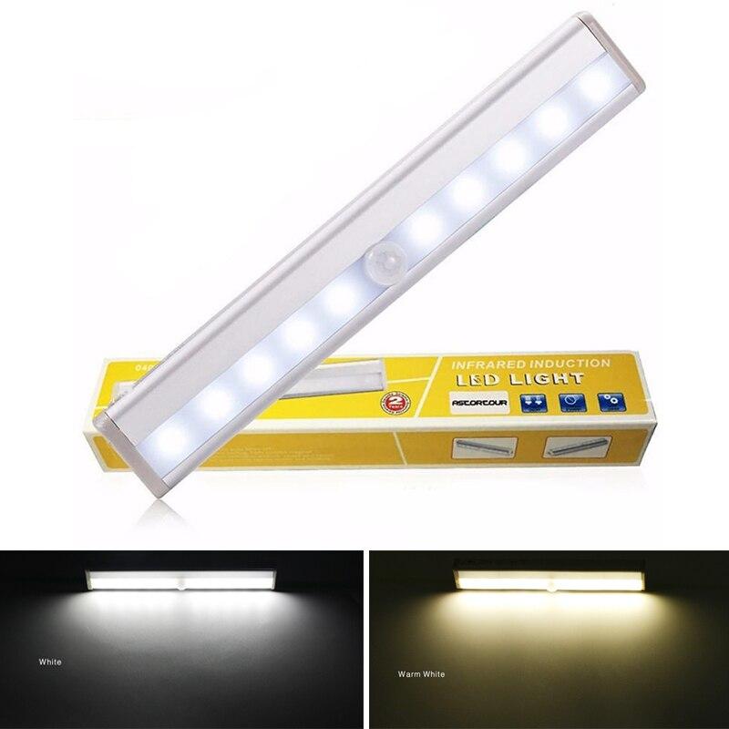 LED Under Cabinet Light PIR Motion Sensor Battery Lamp 6/10 LEDs Lighting For Wardrobe Cupboard Closet Kitchen Led Night Light