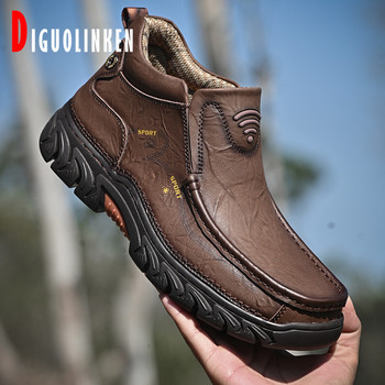 Classic Men Genuine Leather Boots Ankle Men's Snow Boots Casual Winter Warm Fur Men Shoes Soft Bottom Luxury Outdoor Big Size 48 haraval handmade winter woman long boots luxury flock round toe soft heel shoes elegant casual warm retro buckle solid boots 289
