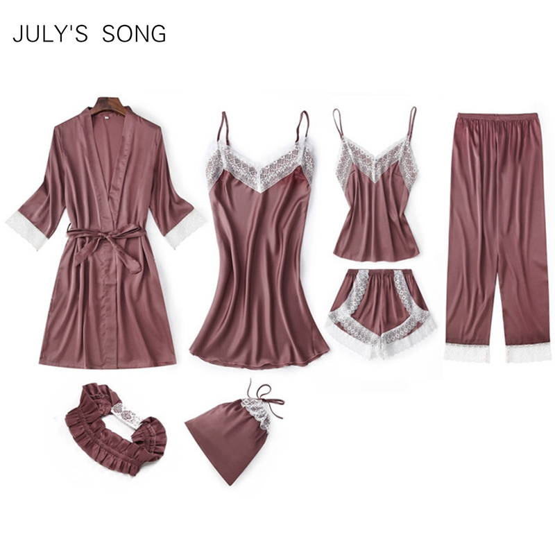 JULY'S SONG New Woman 7 Pieces Faux Silk Pajamas Set Sexy Lace Simple Spring Autumn Shorts Woman Faux Silk Female Home Wear
