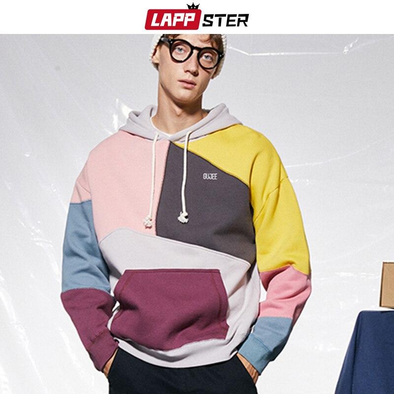 LAPPSTER Men Hip Hop Patchwork Streetwear Hoodies 2019 Autumn Korean Fashions Sweatshirts Hooded Hoodie Casual Harajuku Clothes