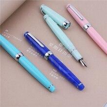 Nouveau MOONMAN DELIKE stylo plume série Newmoon résine acrylique Iridium EF/F/petit stylo décriture plié coffret cadeau pour bureau daffaires