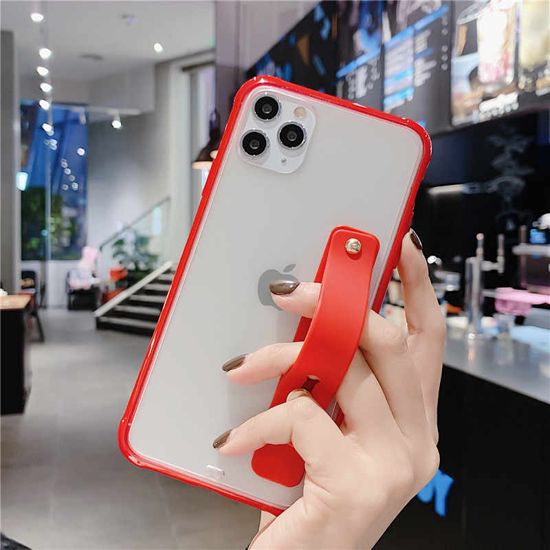 กันชนกันกระแทกโปร่งใสสำหรับ iPhone 11 Pro X XR XS สูงสุด 8 7 6 6S PLUS soft สายรัดข้อมือ TPU Stand Back Cover