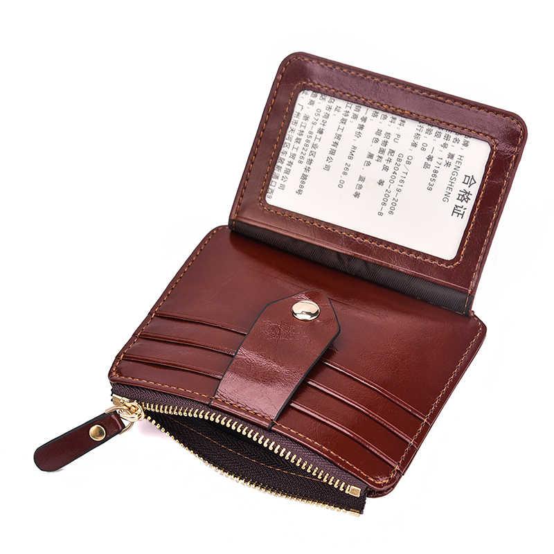 Автомобильный антимагнитный кожаный кошелек Тонкий ID держатель для кредитных карт кошелек на молнии Автомобильная карточка для хранения Авто Органайзер Organizador Coche
