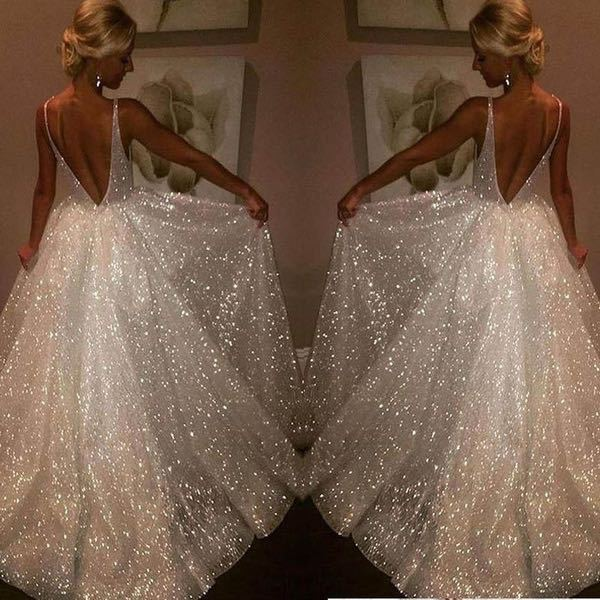 2020 ready to ship cheap sexy backless V neck white gala dress vestidos de fiesta largos vestido formatura