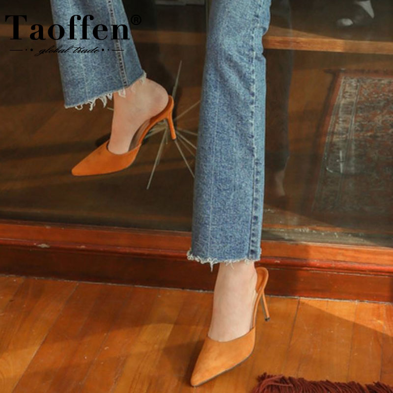 Taoffen 4 Color New Arrival Women Sandals Wedding Pointed Toe Party Shoes Woman Office Spring Female Footwear Size 34-40