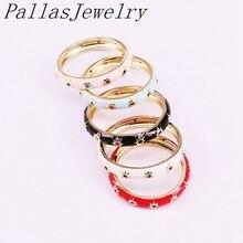 Кольцо эмалированное золотистое с фианитами, 10 шт.
