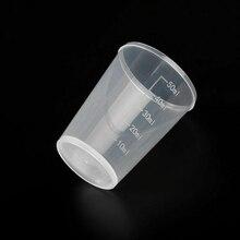 20 штук прозрачный измерения чашки 15/30/50 мл прозрачный пластик мерный стаканчик измерения Двойной весы контейнер