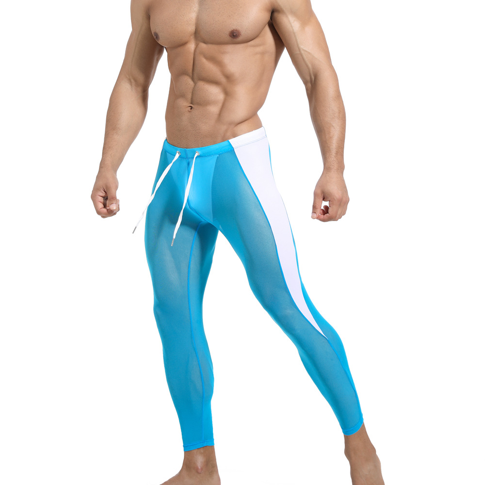 New Fashion Men Riding Athletic Pants Gauze Breathable Fitness Training Tight Trousers Body Building Pants Long Johns 20911