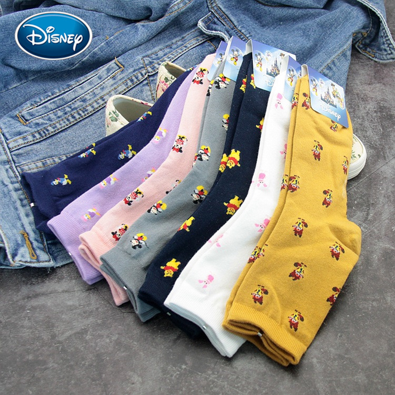 Disney Cute Women Cartoon Print Tube Stockings Fashion Warm Sweat-absorbent Candy Cotton Socks