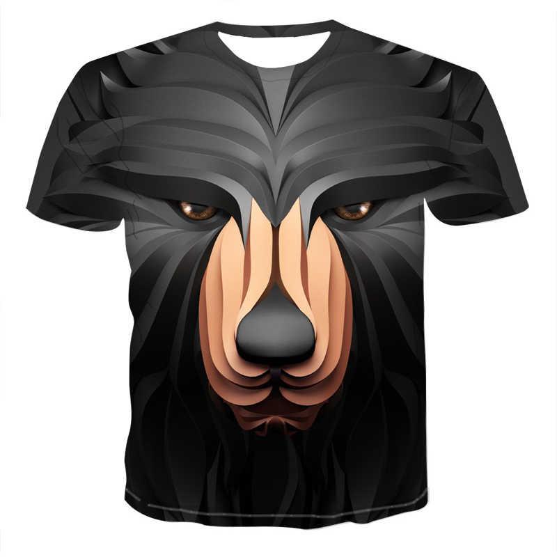 2020 nova cabeça de lobo 3d legal camiseta masculina engraçado animal moda unisex casual camiseta verão rua de secagem rápida moda camiseta