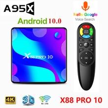 X88 PRO 10 Android 10 Smart TV Box 4GB 128GB RK3318 Quad Core 4K HD 2.4G/5Ghz BT Wifi TV BOX Youtube 3D Media Player Set Top Box