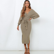 2019 NEW women autumn and winter fashion high waist dress solid color bat sleeve V-neck OL commuter style female