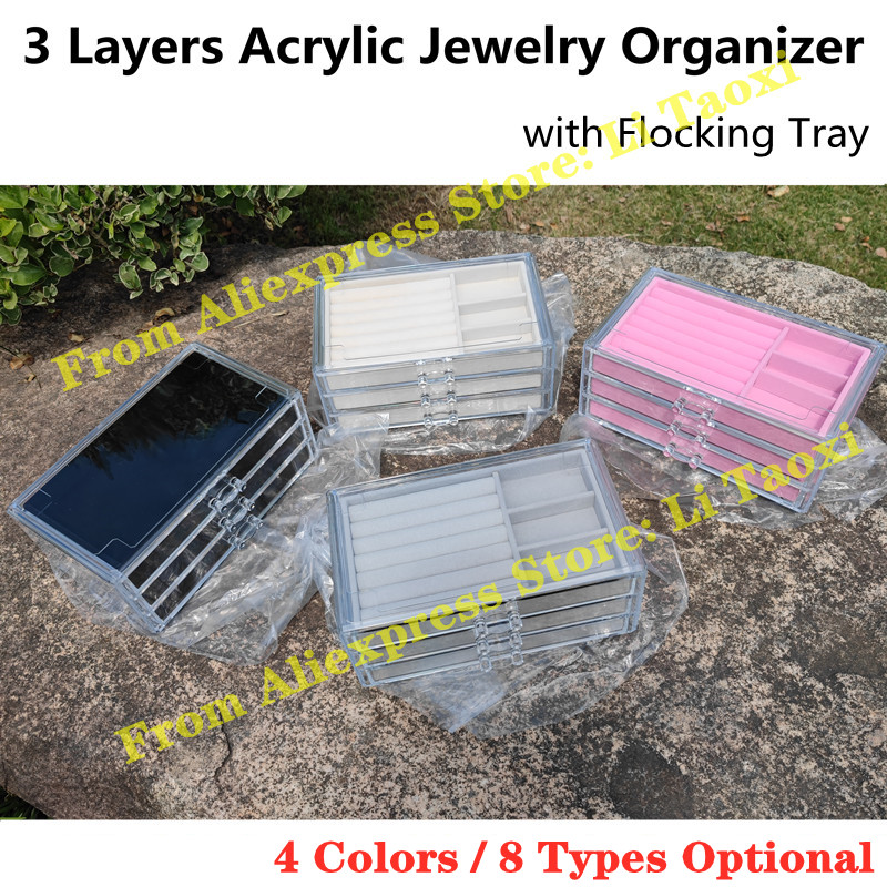 3 Layers Acrylic Jewelry Organizer with Flocking Trays Earrings Display Box Rings Rack Necklace/Watch/Bracelet Storage Drawer