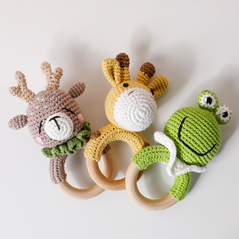 1pc Baby Wooden Rattle Toy Crochet Animal Giraffe Baby Teether Gym Music Rattle Ring Toys Newborn Pram Stroller Toy Baby Product