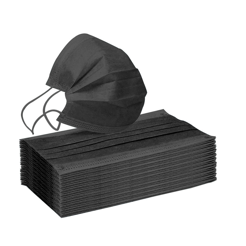 10/20/50/100Pcs/set Black Mouth Mask Non-woven 3 Layers Masks Outdoor Cycling Activated Carbon Filter Respirator