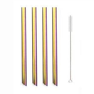 5pcs/set Colorful Reusable Straws Metal Drinking Straw Set 304 Stainless Steel Straw Pearl Milkshake Bubble Tea Straw With Brush