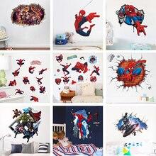 Marvel The Avengers Super Hero 3D Broken Wall Hole Stickers For Kids Room Spiderman Batman Ironman Hulk Mural Decals Home Decor