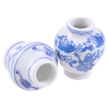 1 Set(2pcs) Mini Blue And White Porcelain Vase DIY Handmade Doll House Kitchen Ceramic Ornament Vase Dollhouse Miniatures 1