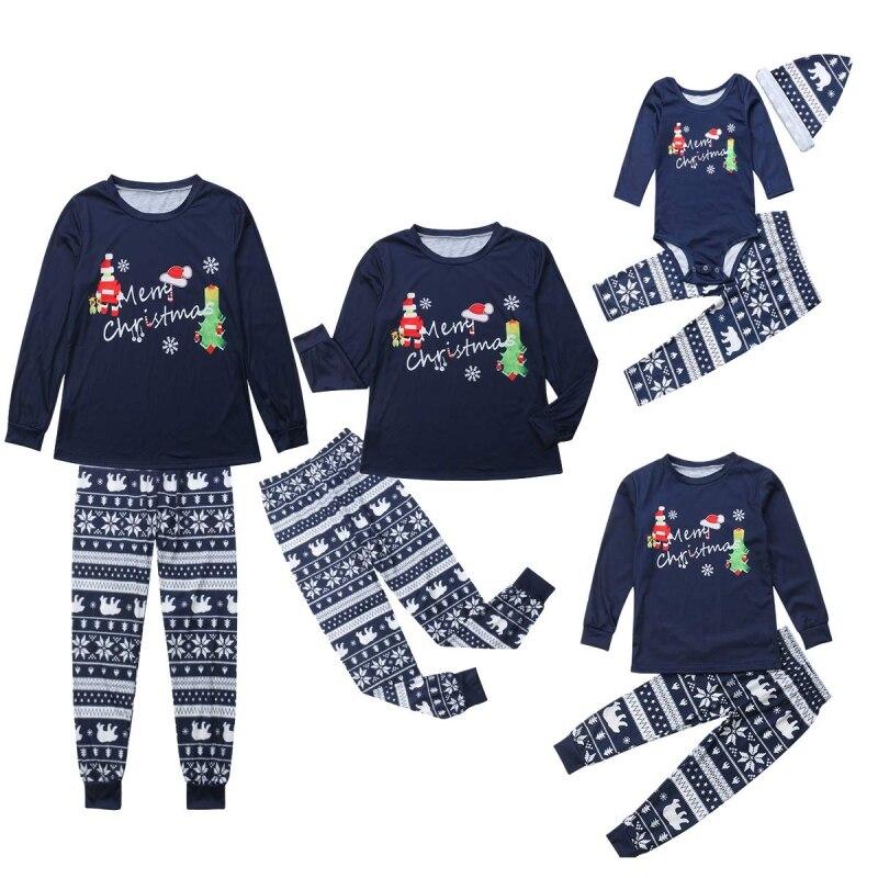 New Parent-child Pajamas Santa Claus Christmas Wear Round Neck Long-sleeved Trousers Children's Pajamas