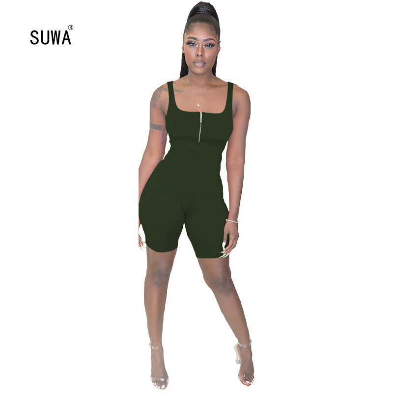 Wholesale Hot Sale Casual Sexy Women Solid Color Sheath Playsuit 2020 Summer Femme Square Collar Sleeveless Slim Short Jumpsuit