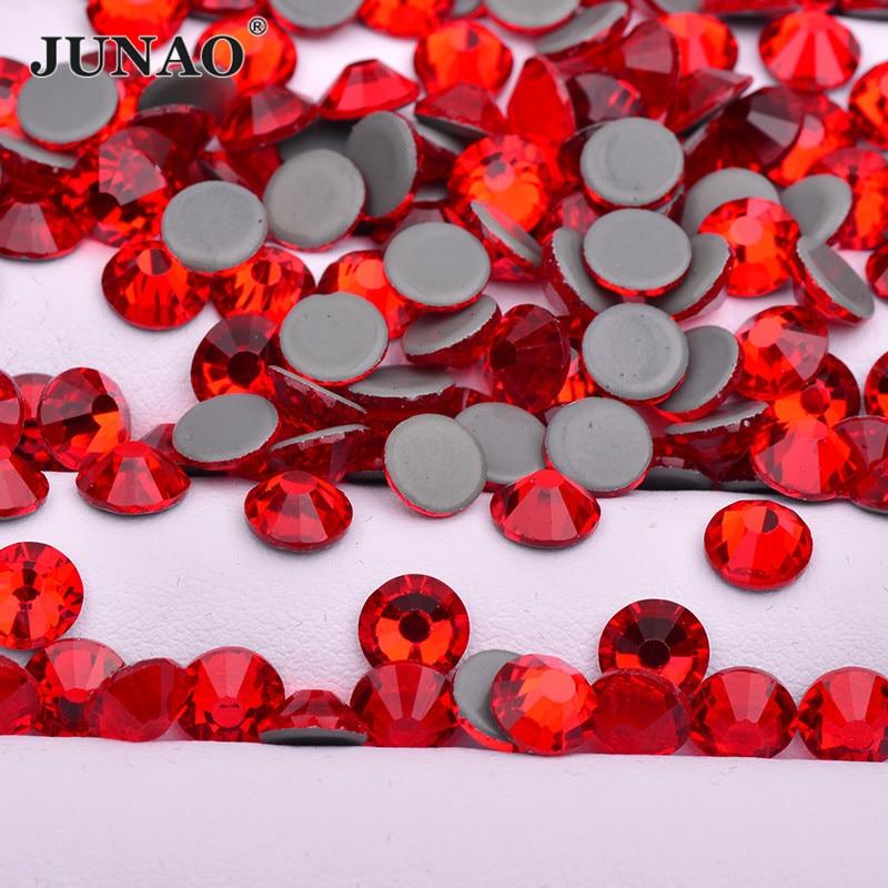 JUNAO-pierres Strass de verre rouge | SS 6 8 10 12 16 20 30, avec des appliques de fer sur des pierres à dos plat, pour robe de mariée, à chaud