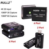 USB 2.0 3.0 4K Loop Out scheda di acquisizione Audio Video scatola di registrazione HDMI Mic nel gioco del telefono Streaming Live per Switch PS4 DVD Camera