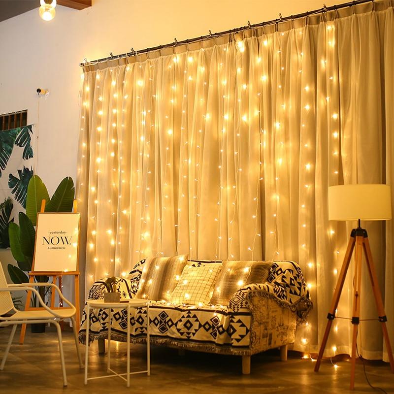 JSEX Cortinas LEVARAM Luzes De Fadas Seqüência de Luz Luzes de Natal Negócio 3x2/3x3/3x1/6x3/2x2 Guirlanda Ano Novo Enfeites Para Casa De Férias