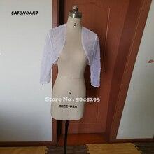 Shoulder-Cropped-Jacket Bolero Shrugs Wedding-Wraps Pearls Long-Sleeve White Women/girls