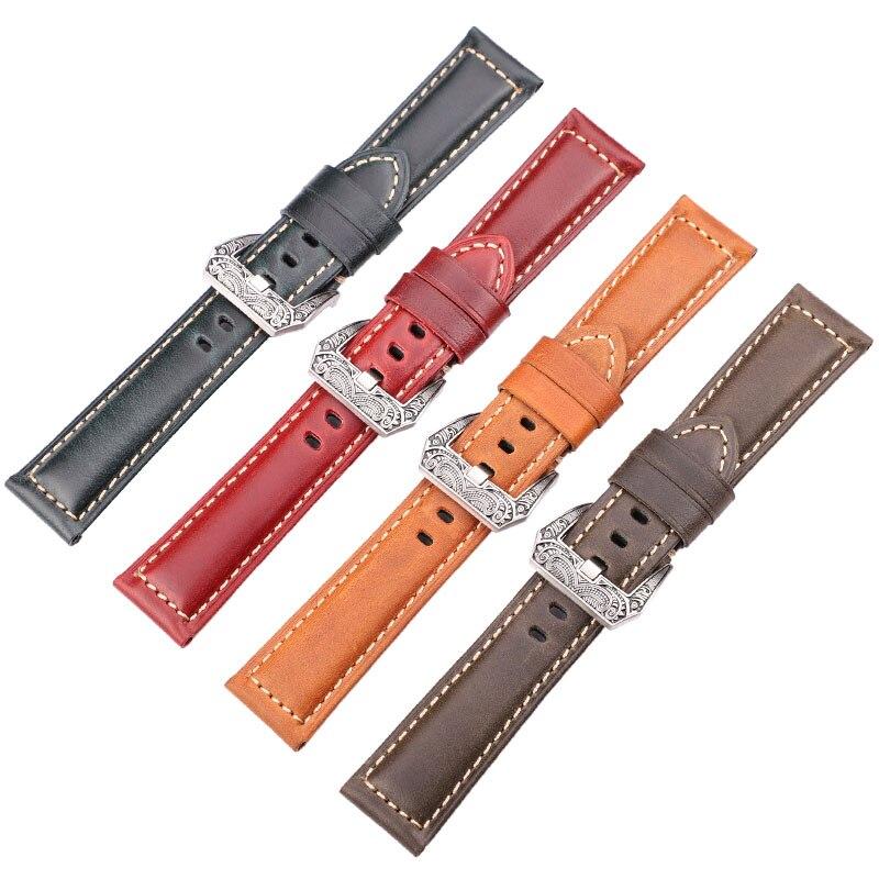 Relógio de Couro Pulseiras de Relógio de Couro Cor dos Homens para Mulheres Pulseira 4 Pulseiras de Genuíno Acessórios 20mm 22mm 24mm 26mm