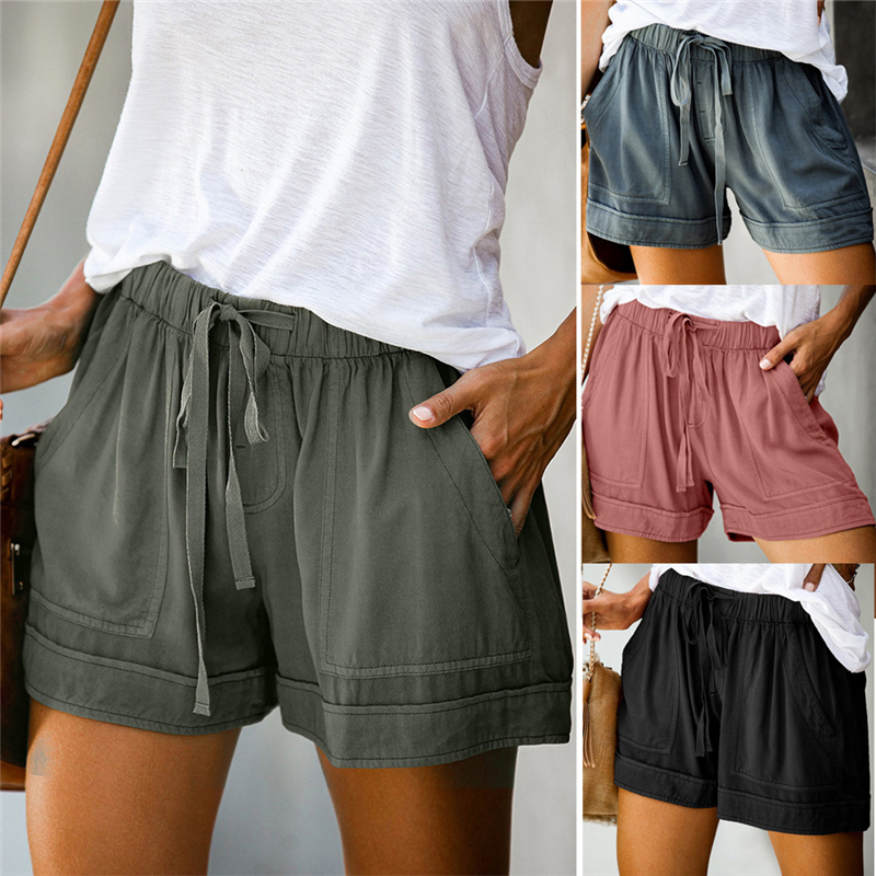 Summer Women Solid High Wasit Casual Shorts Fashion Lady Street Shopping Straight Pockets Short Trousers Bottoms