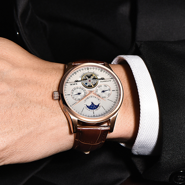 LIGE Men Watch Top Brand Mens Mechanical Watches Automatic Tourbillon Skeleton Watch Men Calendar Relogio Masculino dropship+Box 3