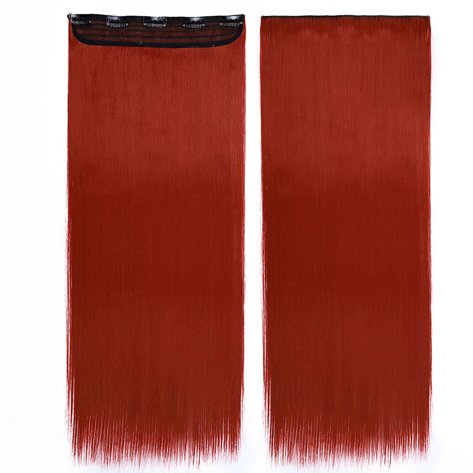 S-noilite, накладные волосы на заколках, черный, коричневый, натуральные, прямые, 58-76 см, длинные, высокая температура, синтетические волосы для наращивания, шиньон - Цвет: dark red
