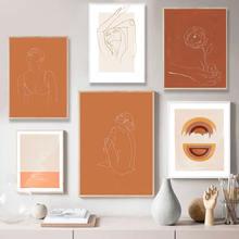 Абстрактная сгоревшая оранжевая настенная Картина на холсте